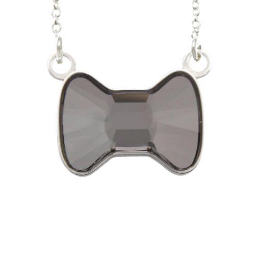 Collar Sweet girl bow de plata - Silver night