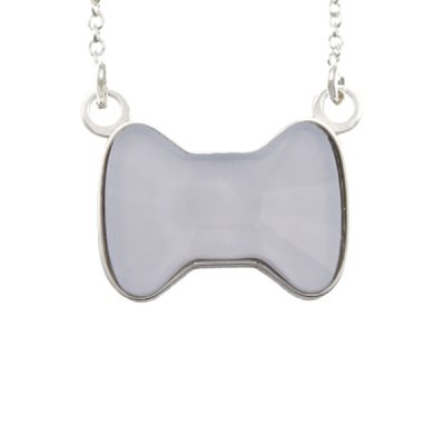 Collar Sweet girl bow de plata - Powder Blue