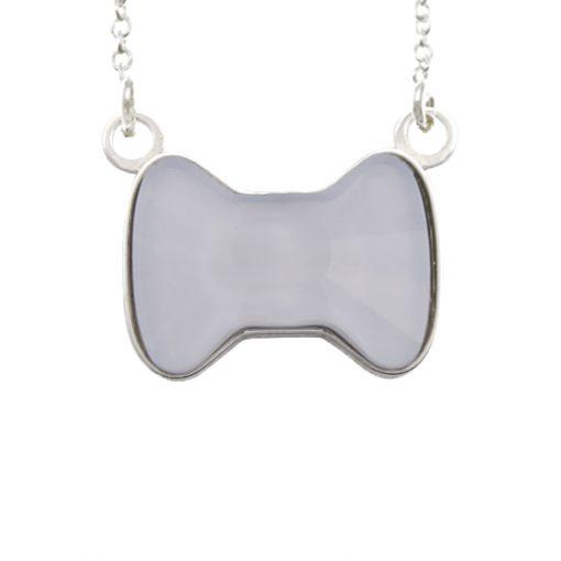 Collar Sweet girl bow de plata - Powder Blue