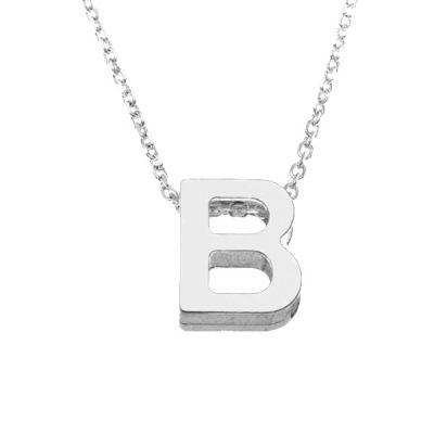 Collar Letters B en plata de ley