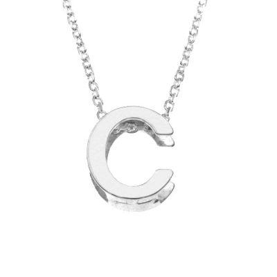 Collar Letters C en plata de ley