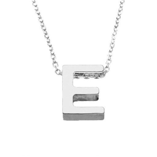 Collar Letters E en plata de ley