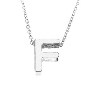 Collar Letters F en plata de ley