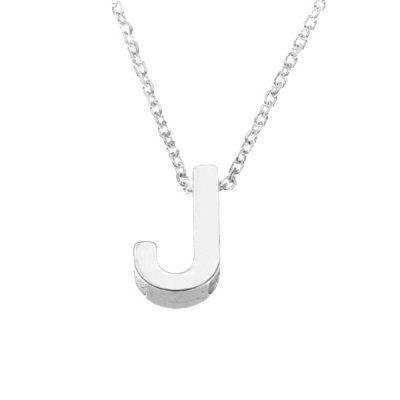Collar Letters J en plata de ley