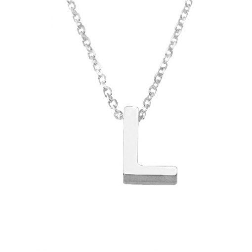 Collar Letters L en plata de ley