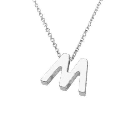 Collar Letters M en plata de ley
