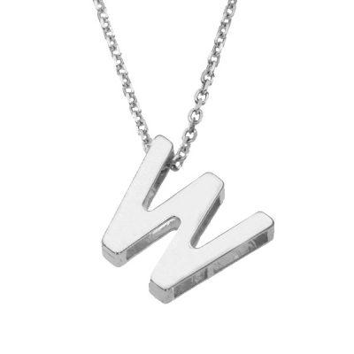 Collar Letters W en plata de ley