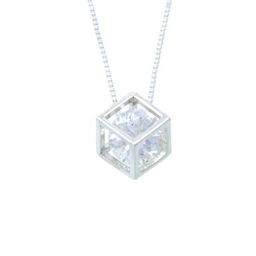Colgante cubo con circonita crystal de plata