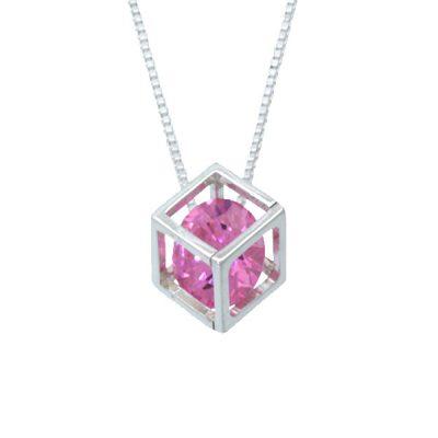 Colgante cubo con circonita rose de plata