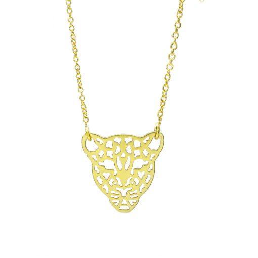 Colgante leopardo bañado en oro
