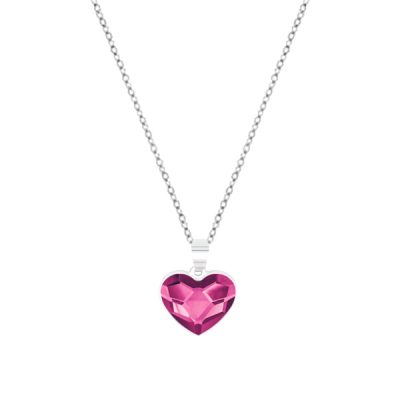 Collar Sweet girl love de plata - Fuchsia