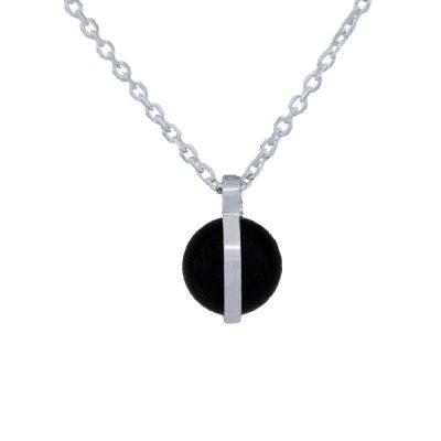 Collar Symbols en plata  con perlas Sw Jet
