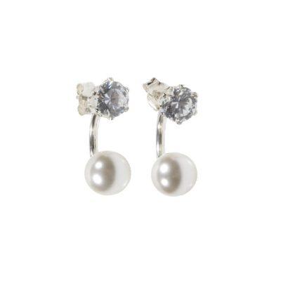 Pendientes circonitas en plata + perla