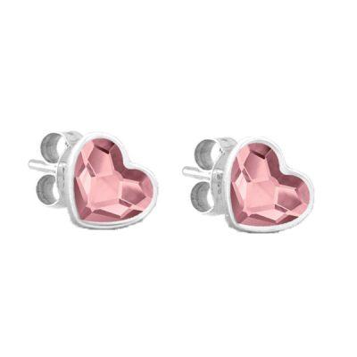 Pendientes Sweet girl love de plata - Antique Pink