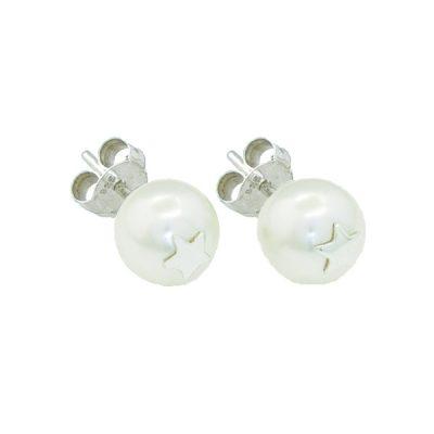 Pendientes Symbols en plata con perlas Sw White