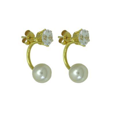 Pendientes circonitas en plata baño oro + perla