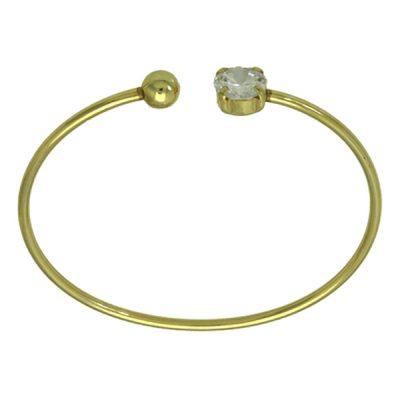Pulsera flexible Circonita plata baño oro